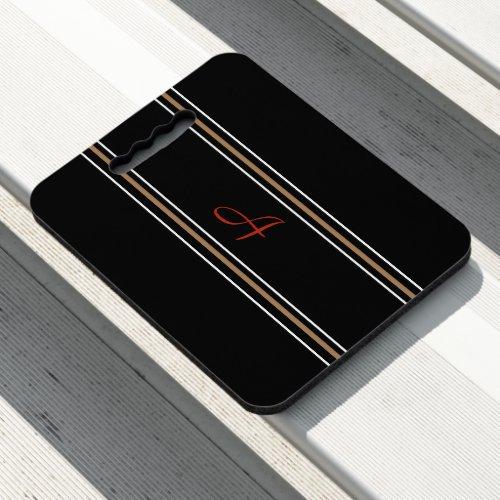 Black Red Gold Monogram Initial Create Your Custom Seat Cushion