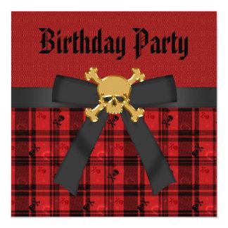 Black, Red & Gold Skulls & Hearts Birthday Personalized Invite