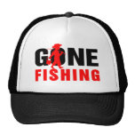 Black & Red-Gone Fishing Mesh Hats