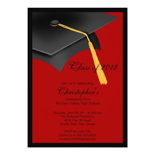 Black red grad cap graduation party invitation zazzle black red grad cap graduation party invitation filmwisefo