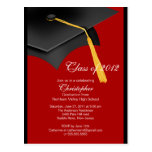 Black Red Grad Cap Graduation Party Invitation Post Cards