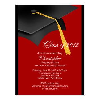 Black Red Grad Cap Graduation Party Invitation Postcard