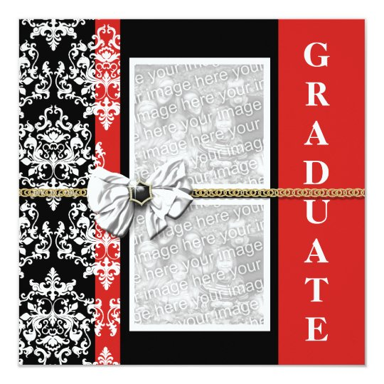 Black red graduation damask template PERSONALIZE
