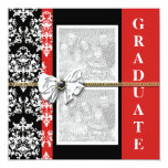 Black red graduation damask template PERSONALIZE Invitation