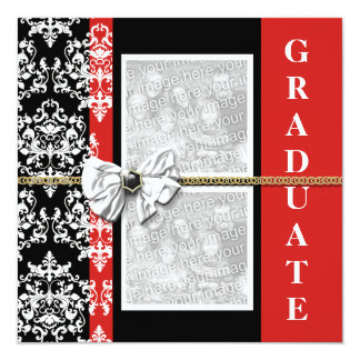 "Black red graduation damask template PERSONALIZE 5.25"" Square Invitation Card"