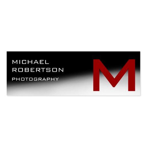 Black Red Gray Monogram Photographer Business Card