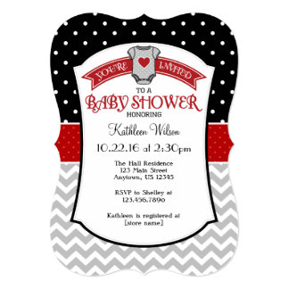 Black Red Gray Polkadot Chevron Baby Shower Invite