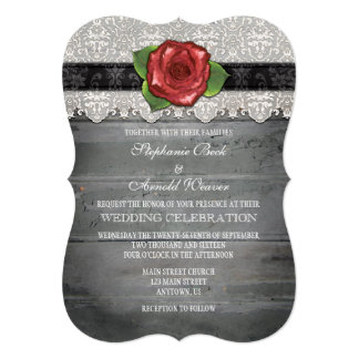 Black Red Gray Rustic Wood Rose Wedding Invite