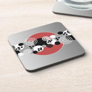 Black Red Gray White Abstract Circles Coaster