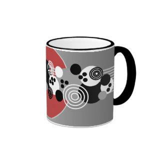 Black Red Gray White Abstract Circles Ringer Mug