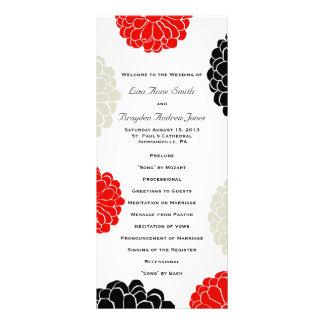 Black Red Gray Zinnia Flower Wedding Program