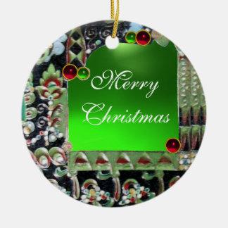 BLACK RED GREEN ART NOUVEAU GEMSTONE MONOGRAM Double-Sided CERAMIC ROUND CHRISTMAS ORNAMENT