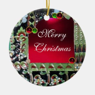 BLACK RED GREEN ART NOUVEAU GEMSTONE MONOGRAM Ruby Double-Sided Ceramic Round Christmas Ornament