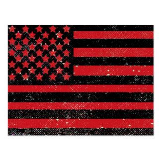 Black red grunge American flag Postcard