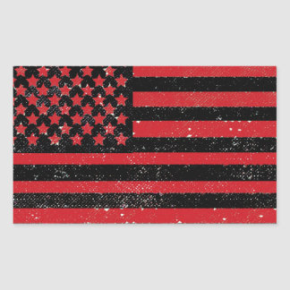 Black red grunge American flag Rectangular Sticker
