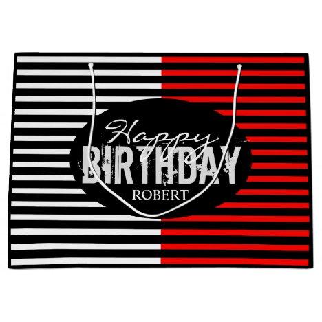Black & Red Happy Birthday Large Gift Bag