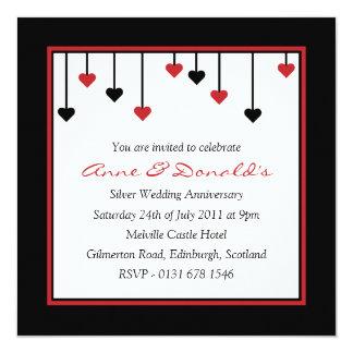 Black & Red Heart Anniversary Party Invitation