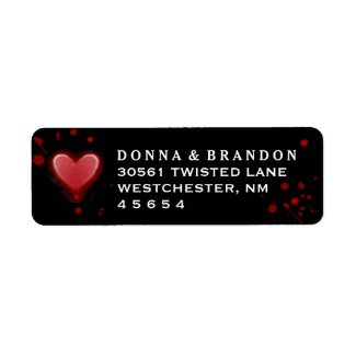 Black & Red Heart Halloween Wedding Address Label
