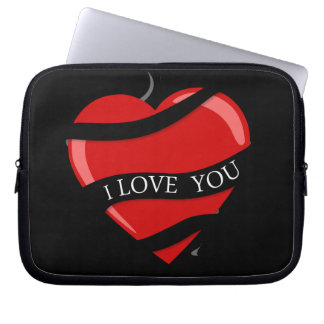 BLACK RED HEART LOVE YOU MARRIAGE ANNIVERSARY LAPTOP COMPUTER SLEEVE