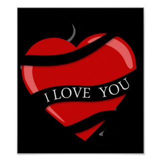 BLACK RED HEART LOVE YOU MARRIAGE ANNIVERSARY POSTERS