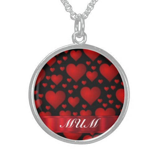 Black Red heart mom text Necklaces