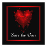 Black Red Heart Save The Date Wedding Card