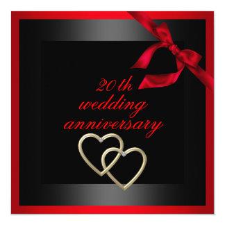 Black & Red Heart wedding anniversary Invite