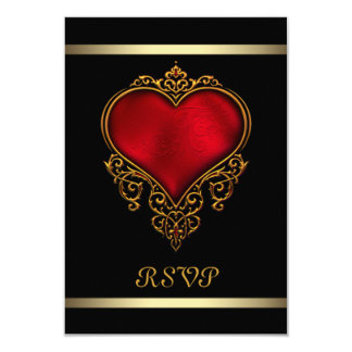 Black Red Heart Wedding Personalized Invitations