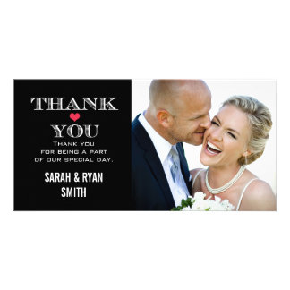 Black Red Heart Wedding Photo Thank You Cards Personalized Photo Card