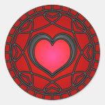 Black/Red Hearts & Swirls Sticker