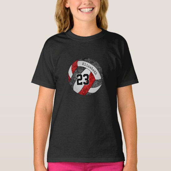 black red her name jersey number on volleyball T-Shirt