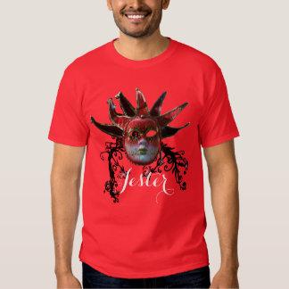 BLACK RED JESTER MASK,FLORAL SWIRLS Masquerade T-shirt