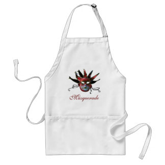 BLACK  RED JESTER MASK ,Masquerade Party Adult Apron