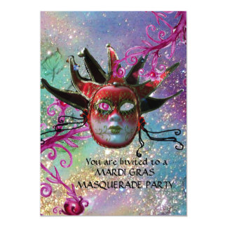 BLACK  RED JESTER MASK ,Masquerade Party Blue Card
