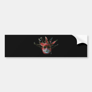 BLACK  RED JESTER MASK ,Masquerade Party Bumper Stickers