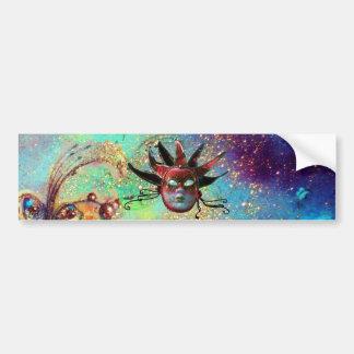 BLACK  RED JESTER MASK ,Masquerade Party Bumper Sticker