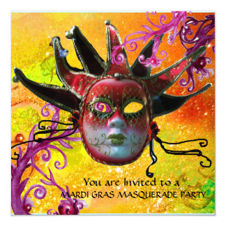 BLACK  RED JESTER MASK ,Masquerade Party Card