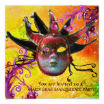 BLACK  RED JESTER MASK ,Masquerade Party Champagne Card