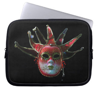 BLACK  RED JESTER MASK ,Masquerade Party Computer Sleeve