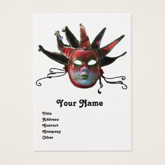 BLACK  RED JESTER MASK ,Masquerade Party Gold Business Card