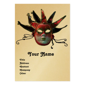 BLACK  RED JESTER MASK ,Masquerade Party Gold Large Business Card