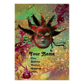 BLACK RED JESTER MASK Masquerade Party Green Gold Large Business Card
