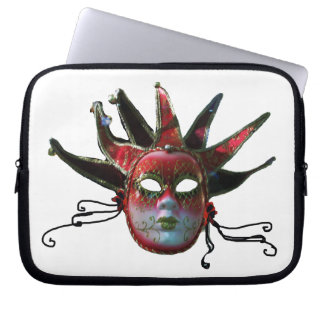 BLACK  RED JESTER MASK ,Masquerade Party Laptop Sleeve