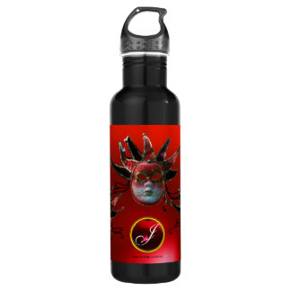 BLACK  RED JESTER MASK ,Masquerade Party Monogram Water Bottle