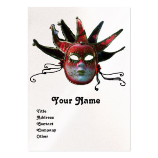 BLACK  RED JESTER MASK Masquerade Party Pearl Large Business Cards (Pack Of 100)