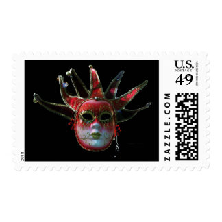 BLACK  RED JESTER MASK ,Masquerade Party Postage