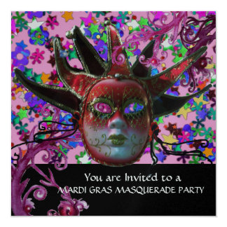 BLACK RED JESTER MASK ,Masquerade Party Silver Card