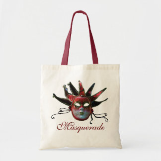 BLACK  RED JESTER MASK ,Masquerade Party Tote Bag