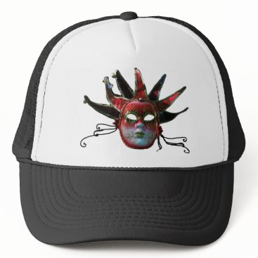 Halloween Themed BLACK  RED JESTER MASK ,Masquerade Party Trucker Hat