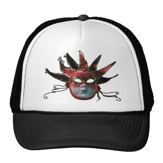 BLACK  RED JESTER MASK ,Masquerade Party Trucker Hat